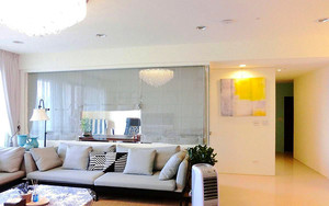 现代风格简约浅色三室两厅室内装修效果图案例