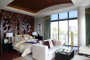 中式风格大户型室内卧室背景墙装修效果图赏析
