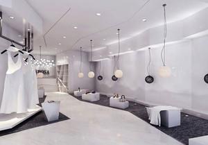 90平米简约风格纯白婚纱店设计装修效果图赏析