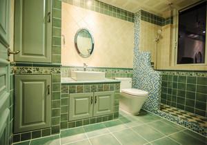 地中海风格绿色清新卫生间瓷砖装修效果图