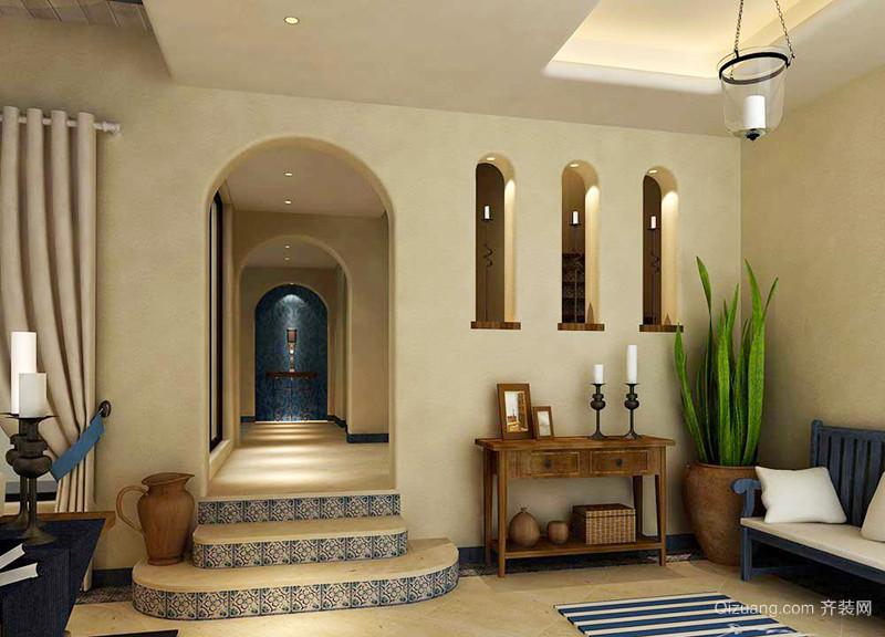 126平米简约地中海风格三室两厅室内装修效果图案例