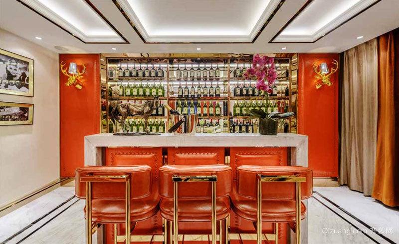 美式风格精致别墅室内酒柜吧台设计装修效果图赏析