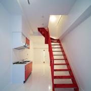 现代简约风格创意红色铁艺楼梯设计装修效果图