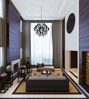 新中式风格别墅室内客厅吊灯设计装修效果图