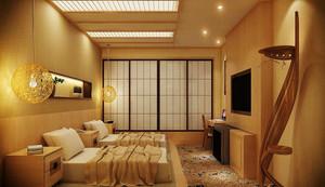 日式风格简约宾馆标准间装修效果图赏析