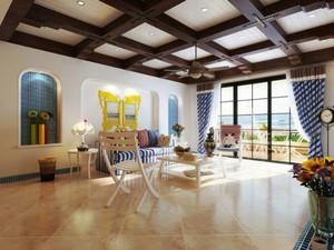 地中海风格大户型室内客厅吊顶设计装修效果图