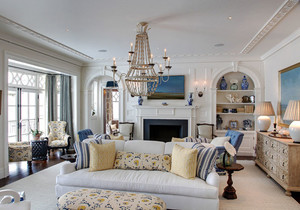 地中海风格别墅室内简约客厅设计装修效果图