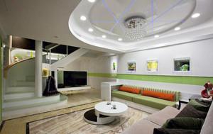 现代简约风格复式楼室内客厅吊顶装修效果图赏析