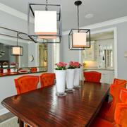 美式风格大户型创意餐厅吊灯设计装修效果图