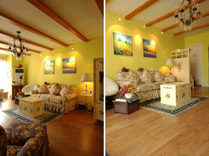 120平米美式田园风格温馨室内装修效果图赏析