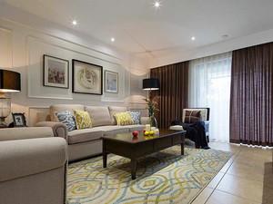 108平米简约美式风格三室两厅装修效果图赏析