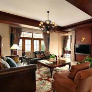 美式风格别墅室内精致客厅设计装修效果图赏析