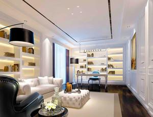 欧式风格简约别墅室内书房设计装修效果图