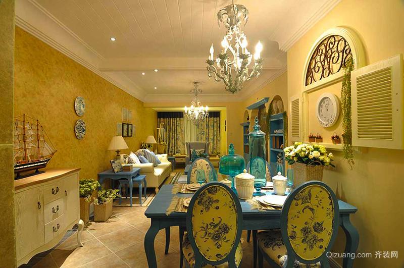 93平米地中海风格两室两厅室内装修效果图案例