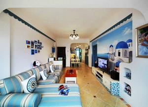 地中海风格时尚创意客厅电视背景墙装修效果图