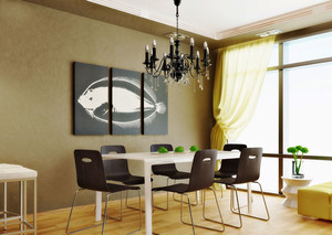 现代简约风格餐厅吊灯设计装修效果图欣赏