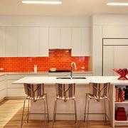 现代简约风格精致开放式厨房吧台设计装修效果图