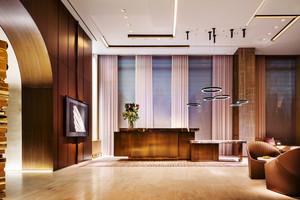 新中式风格精致宾馆前台设计装修效果图