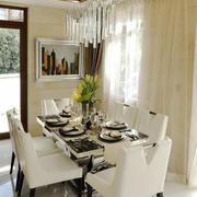 简欧风格精致米色餐厅吊灯设计装修效果图