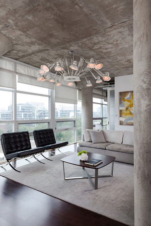 76平米简约工业风格一居室装修效果图案例