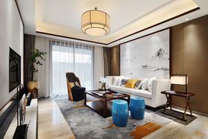 中式风格精致客厅背景墙装修效果图欣赏