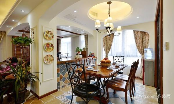 仿古美式风格精致三室两厅室内装修效果图实例