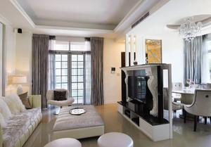 简欧风格白色客厅电视背景墙装修效果图赏析