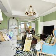 清新美式风格浅绿色客厅设计装修效果图