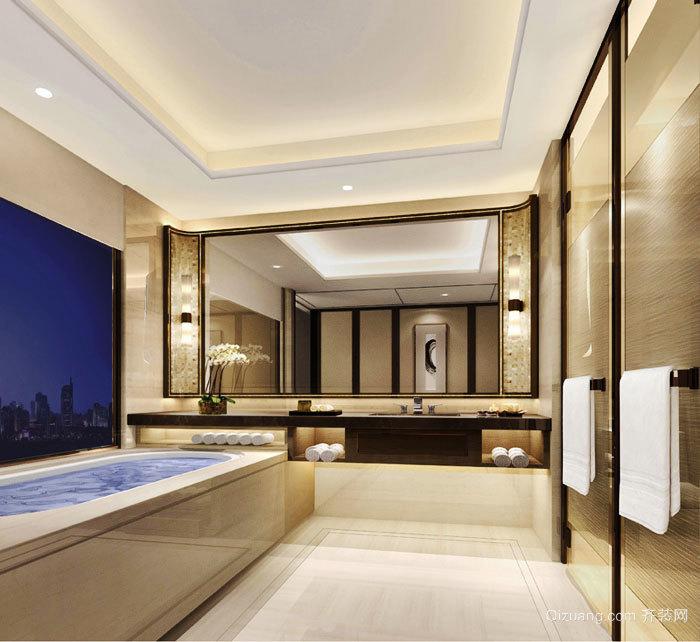 新中式風格酒店客房衛生間裝修效果圖