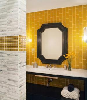 简约风格明亮黄色卫生间瓷砖装修效果图大全
