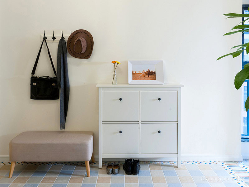 86平米简约蓝色地中海风格两室两厅室内装修效果图