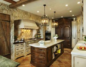 美式乡村风格别墅室内整体厨房装修效果图欣赏
