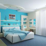 清新风格浅蓝色卧室背景墙装修效果图赏析