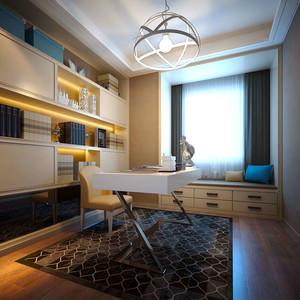 简约美式风格大户型精致书房设计装修效果图