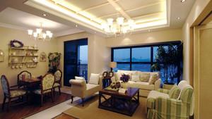 欧式田园风格两居室客厅餐厅一体设计装修效果图