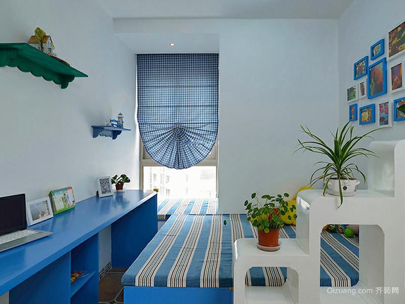108平米蔚蓝地中海风格三室两厅室内装修效果图案例