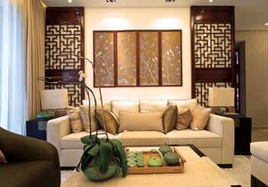中式风格古典精致客厅沙发背景墙装修效果图