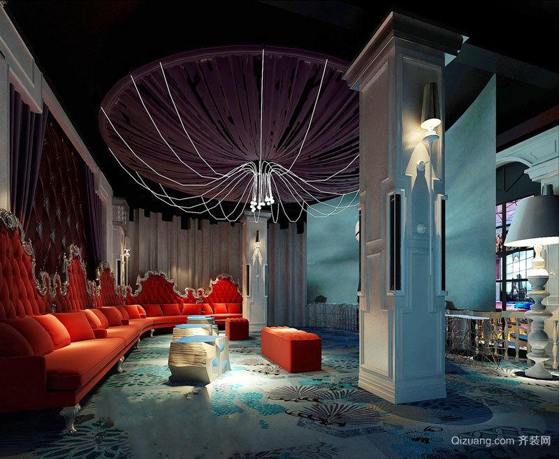 欧式风格精致酒酒吧沙发设计装修效果图