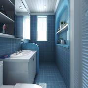地中海风格蓝色经典卫生间瓷砖装修效果图