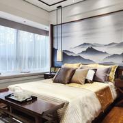 中式风格两居室精致卧室背景墙装修效果图