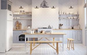 現代風格簡約淺色開放式廚房吧臺裝修效果圖