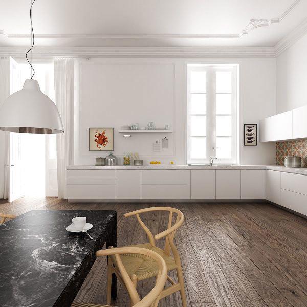 现代风格简约浅色开放式厨房吧台装修效果图