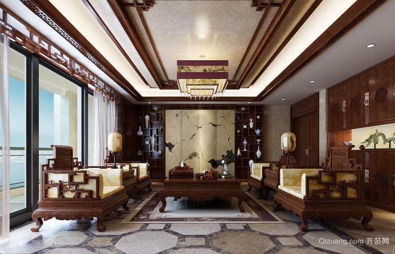 170平米中式风格古典精致大户型室内装修效果图赏析