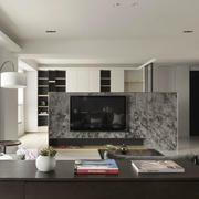 现代简约风格三居室大理石电视背景墙装修效果图