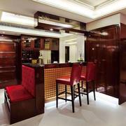 中式风格大户型室内精致开放式厨房吧台装修效果图赏析
