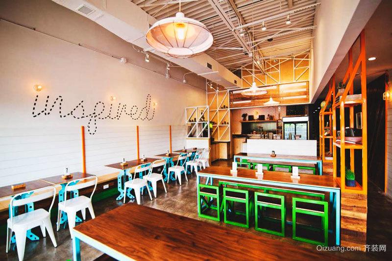 68平米美式风格快餐店设计装修效果图赏析