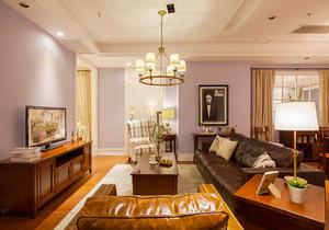 复古美式风格大户型室内客厅设计装修效果图