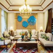 中式风格复式楼室内精致客厅背景墙装修效果图赏析