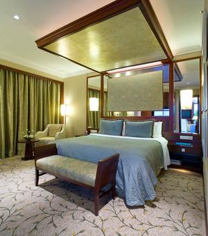 中式风格大户型精致卧室背景墙装修效果图赏析