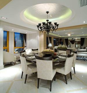 简欧风格大户型精致餐厅圆形吊顶设计装修效果图